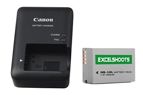 Excelshots, CB-2LC Battery Charger + NB-10L Li-ion compatible Battery, for Canon PowerShot SX40 HS, SX50 HS, SX60 HS, G1X, G3X, G15, G16, Digital Camera. (Canon Sx60 Hs Camera Battery compare prices)