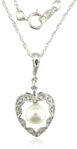 Sterling Silver White Freshwater Cultured Pearl White Sapphire Pendant Necklace