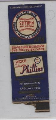 1940 Philadelphia Phillies Schedule Matchbook Cover - MLB Unsigned Miscellaneous