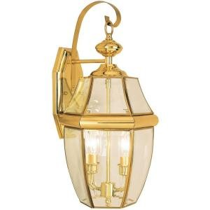 Hampton Bay Wall-Mount 2-Light Outdoor Polished Brass Lantern