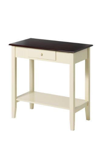 Premier Housewares Console Table with Dark Wood Top, 76 x 71 x 38 cm, Cream