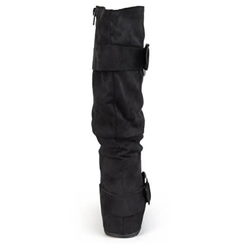 1c472f5a3c83 Brinley Co. Womens Buckle Knee-High Slouch Boot In Regular and Wide-Calf  Sizes Black 8