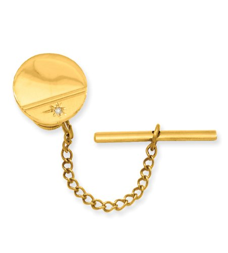 Gold-plated Diamond Polished Florentined Tie Tack