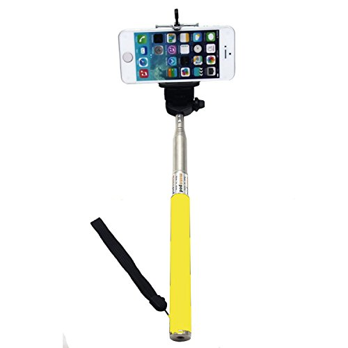 Samrick Extendable Handheld Monopod Selfie Stick With Ajustable Length & Samrick Bluetooth Self Timer Handheld Selfie Remote For All Compatible Mobile Phones Iphone/Ios/Android Devices - Yellow