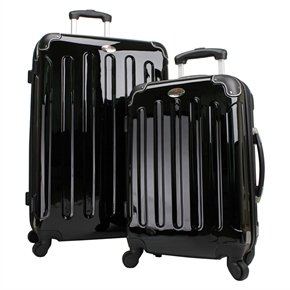 Swiss Case 4 Wheel Hard 2Pc Black Suitcase Set
