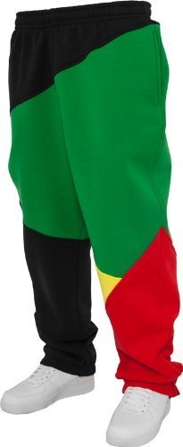 Urban Classics uomini pantaloni della tuta pantaloni della tuta Zig Zag TB286 urbano Fit Nero/Rasta XX-Large