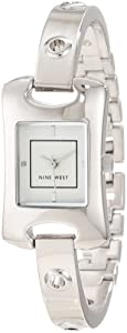 Nine West Women's NW/1305SVSB Curved Silver-Tone Case Grommet Bangle Watch