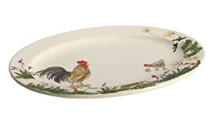 Paula Deen Dinnerware Southern Rooster 10-Inch x 14-Inch Stoneware Oval Platter, Print