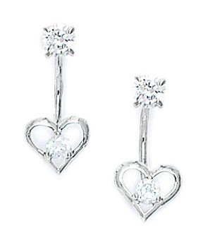 14ct White Gold CZ Heart Telephone Earrings - Measures 17x7mm