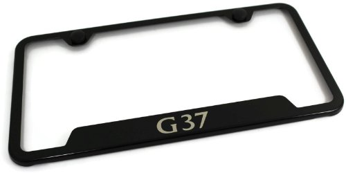 Infiniti G37 Stainless Steel License Plate Frame Laser Etched Made in USA Frame - Black Gloss (Infiniti G37 Black Emblem compare prices)
