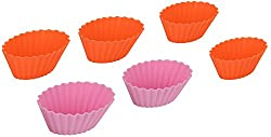 Erbanize (TM) Silicone Non- Stick Cup Cake Moulds, Muffin Moulds. Oval Shape. Set of 6 Pcs
