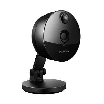 Foscam C1 avec 8 Go de carte Micro SD Caméra IP de surveillance intérieure, 1,0 MP, fonction P2P, 720P, grand angle 115°, WIFI, Sauvegarde sur Cloud, Slot pour carte SD, détection de mouvement PIR, Audio bidirectionnelle, Vision nocturne (noir)