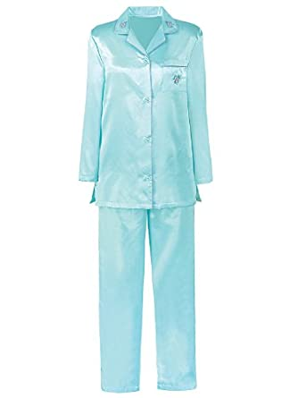 Brushed-Back Satin Pajamas - Women's Sizes, Color Aqua, Size 4X