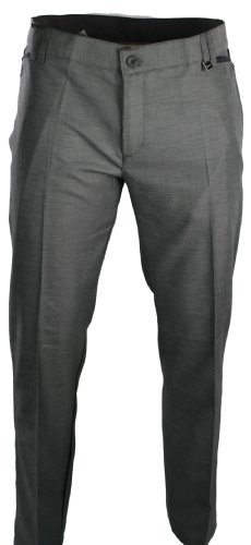 Mens Slim Fit Trousers Silver Grey Black Design Smart Italian Styling
