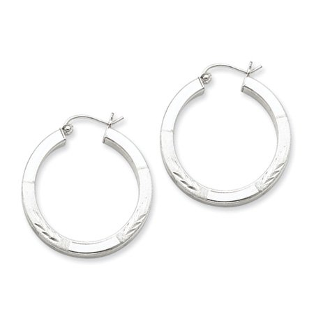 3mm, Satin & Polished, Silver Square Hoops - 30mm (1-1/8