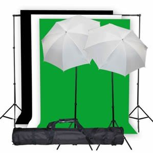 StudioFX Photo Studio Lighting Light kit & Stand / (3) 10′ x 10′ Muslin Green, White, Black / (2) Snow White Umbrella 33″ — K1