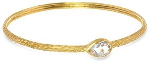 Eddera Jewelry Dina Pear White Topaz Bangle Bracelet, 8.25