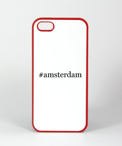 #Amsterdam - Funny Hashtag Iphone 4, 4S Case Cover, Rubber Red
