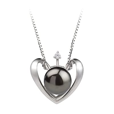 PearlsOnly Heart Black 9.0-9.5mm AA Cultured Freshwater Sterling Silver Pearl Pendant: PearlsOnly: Jewelry