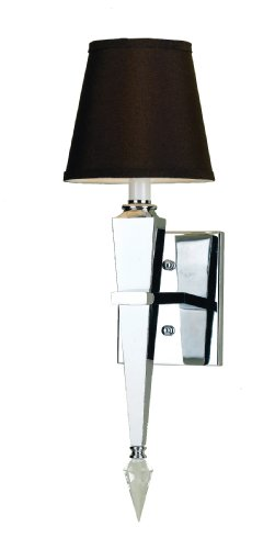 Candice Olson Margo Candle Base Sconce, Chrome with Crystal Ornament and Chocolate Poly/Silk Shade