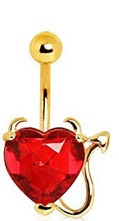 Red Crystal Gold Plated Devil Heart Belly Bar Navel Ring.