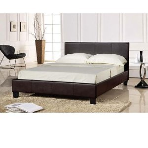 4ft Small Double Black Faux Leather Prado / Haven Bed With Contrast White Stitching free next day delivery by furniture-4u