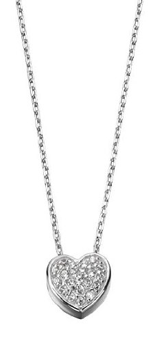 Elements Sterling Silver Ladies' N3232C Pave Heart Necklace Length 40+5cm