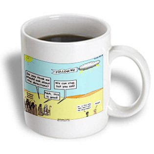 Mug_19505_1 Rich Diesslin The Cartoon Old Testament - Exodus 16 2 15 Are We There Yet Bible 40 Years Forty Years Directions Men God Desert - Mugs - 11Oz Mug