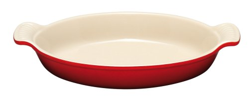 Le Creuset Heritage Stoneware 21-Ounce Oval Au Gratin Dish, Cherry
