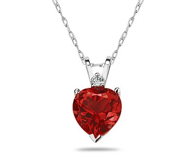 Heart Ruby and Diamond Stud Pendant in 14K White Gold