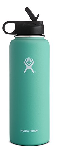 Hydro Flask Vacuum Insulated Stainless Steel Water Bottle Wide Mouth with Straw Lid (Mint, 40-Ounce) (Soda Bottle Straw compare prices)