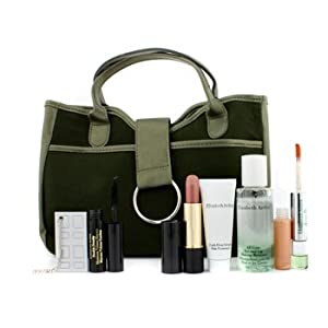Elizabeth Arden Green Tea Travel Set: Dual-Ended Parfumee & Lipgloss+ Mascara+ Lipstick+ Remover+ 8 Hour Cream+ Mirror+ Bag - 6pcs+1bag