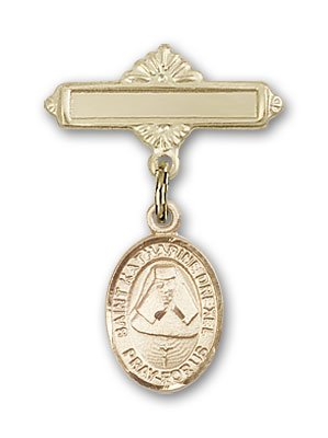 Gold Filled Baby Badge with St. Katherine Drexel Charm and Polished Badge Pin