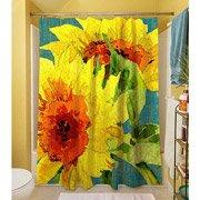 Thumbprintz Shower Curtain, Teal Sunflowers front-482698