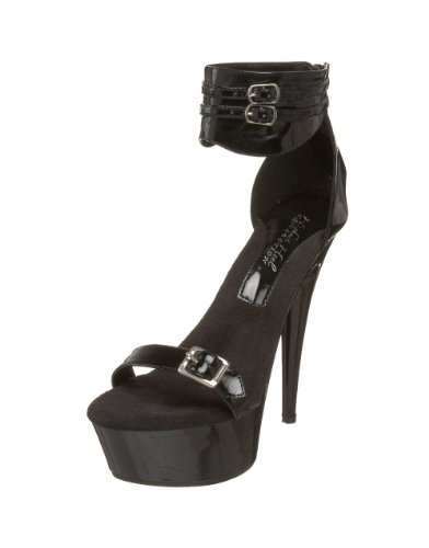 The Highest Heel Women's Bondage Platform Sandal,Black Patent,11 M US