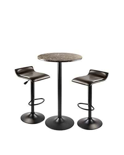 Luxury Home Cora Modern 3-Piece Round Pub Table Set, Black