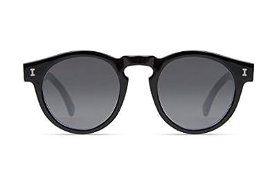 Illesteva Leonard Black Tuxedo with Silver Flat Mirror