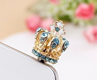 Dust Plug-earphone Jack Accessories Crystal Blue Cross Crown / Cell Charms / Dust Plug / Ear Jack for Iphone 4 4s / Ipad / Ipod Touch / Other 3.5mm Ear Jack(with Cutely Gift Box)-----FREE Shipping From NY- (Blue Dust Plug compare prices)