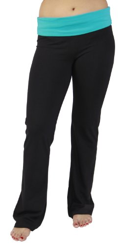 Alki'i Luxurious Cotton Lycra Fold over Yoga Pants