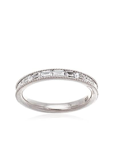 Bliss 18K White Gold-Plated Sterling Silver 3.33 Cttw CZ Emerald Cut Band Eternity Ring