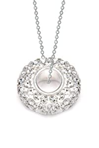 """.925 Solid Sterling Silver Bead Covered with Top Quality Pink Crystal Super Sale Only for a Limited Time, Hypoallergenic Design Comes 18"""" Silver Chain!! with a Free Gift Box and Special Pouch (Clear)"""