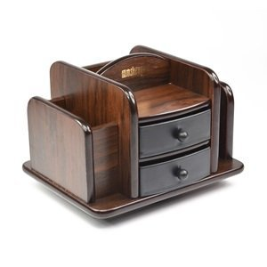 Kloud city dark brown wood rotating desktop - Spinning desk organizer ...