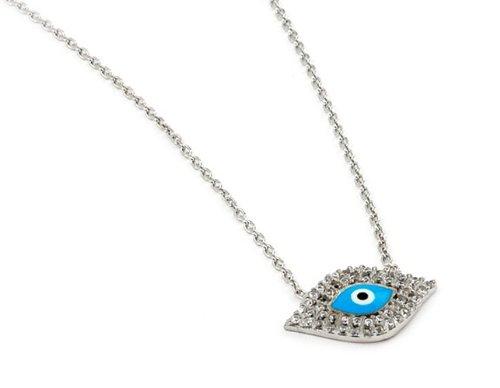 Light Blue Evil Eye Sterling Silver Necklace