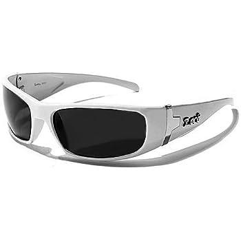 Locs Lunettes de Soleil - Ville - Moto - Mode - Fashion - Conduite - Plage / Mod. Fuel Blanc / Taille Unique Adulte / Protection 100% UV400