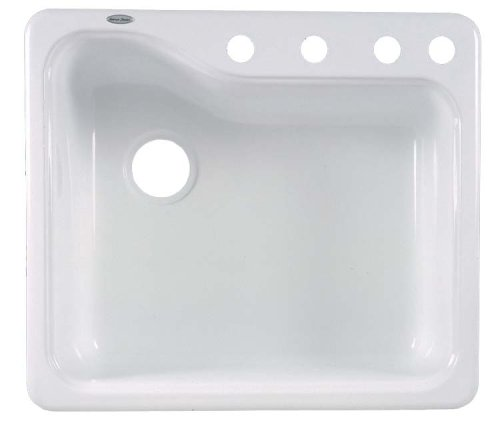 American Standard Silhouette 25 Inch Americas Single Bowl Four Hole Kitchen Sink