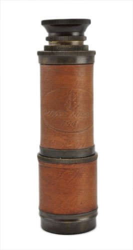 """Antique Brass Functional Spyglass Telescope 14"""" Leather With Hardwood Case"""