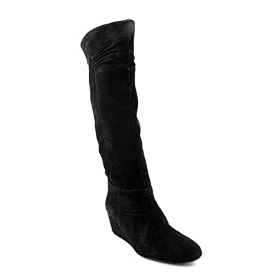 Nine West Amelie Womens Size 7.5 Black Suede Fashion Knee-High Boots