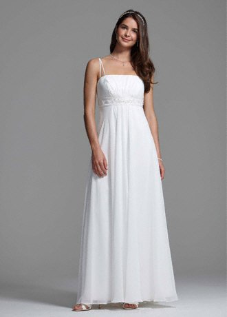 David's Bridal Spaghetti Strap Chiffon A-Line with Front Draping