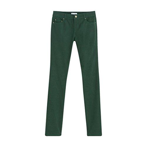 R Essentiel Donna Pantaloni Dritti 5 Tasche Satin Taglia 46 Verde