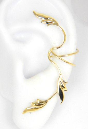 Gold Vermeil 3 Delicate Leaves Full Ear Cuff for Left Ear